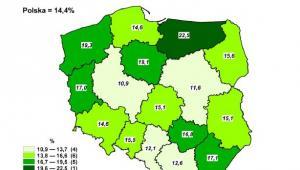 Stopa bezrobocia rejestrowanego według województw (mapa) - luty 2013 r., źródło: GUS