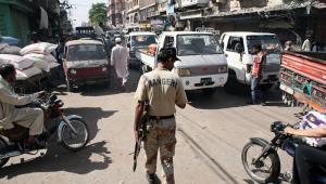 Żołnierz w Karaczi w Pakistanie