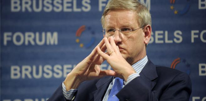 Carl Bildt, szwedzki minister spraw zagaranicznych w Brukseli, 15.03.2008.
