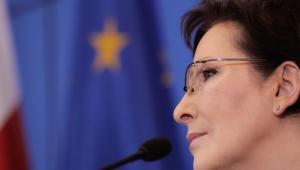 Premier Ewa Kopacz podczas konferencji prasowej