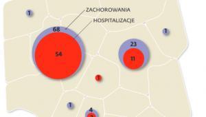 Liczba zachorowań na odrę według województw