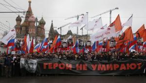 Moskwa, marsz ku pamięci zamordowanego Borysa Niemcowa EPA/SERGEI ILNITSKY Dostawca: PAP/EPA.