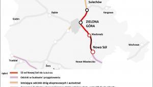 Mapa dróg - lubuskie, droga ekspresowa S3  (Sulechów - Nowa Sól)