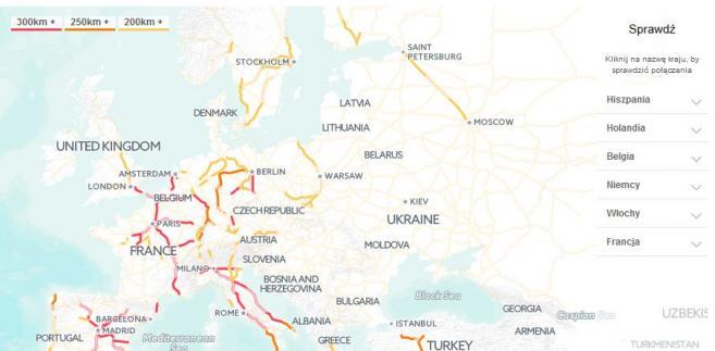 Mapa tras kolei dużych prędkości w Europie, źróło: GoEuro