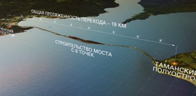 Most na Krym - projekt (zrzut ekranu z filmu propmocyjnego na oficjalnej stronie budowy mostu na Krym http://most.life/)