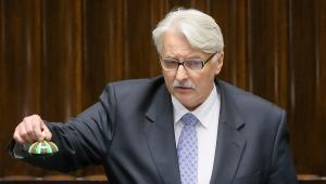 Minister spraw zagranicznych Witold Waszczykowski, podczas posiedzenia Sejmu