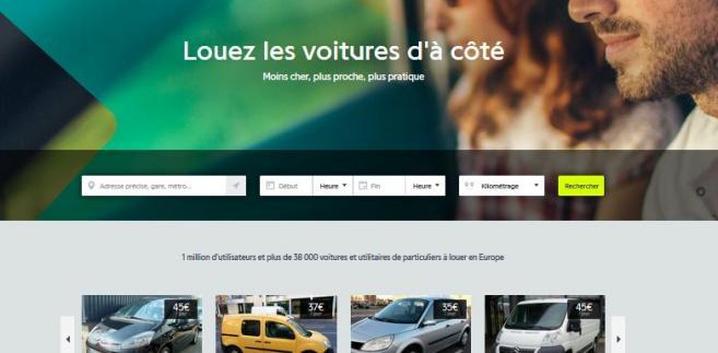 Strona Drivy, francuskiej platformy do wypożyczania aut przez prywatne osoby