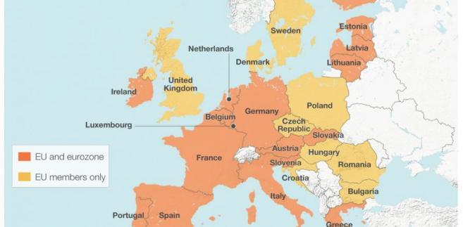Unia Europejska 2016. Na pomarańczowo kraje UE, które są członkami strefy euro. Na żółto kraje UE, które nie są członkami strefy euro