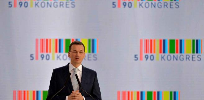Wicepremier Mateusz Morawiecki w drugim dniu Kongresu 590 w podrzeszowskiej Jasionce PAP/Darek Delmanowicz