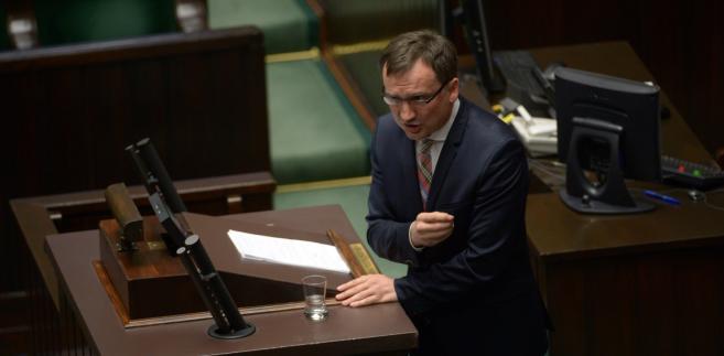Minister sprawiedliwości Zbigniew Ziobro podczas posiedzenia Sejmu