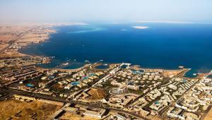 Egipt, widok na wybrzeże z lotu ptaka