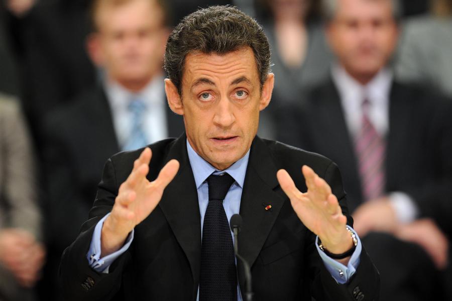 Nicolas Sarkozy podczas spotkania we Francji w Geispolsheim