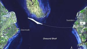 Most Oresund między Danią a Szwecją; autor NASAGSFCMETIERSDACJAROS i U.S.Japan ASTER Science Team. Labels by NASA Earth Observatory newsroom. Wikimedia Commons