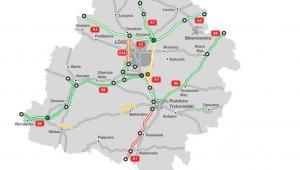 40-kilometrowy odcinek autostrady A1 między węzłem Łódź Północ a Tuszynem (na żółto).