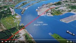 Planowany przebieg trasy podwodnego tunelu w Świnoujściu