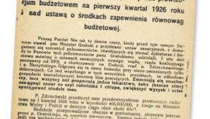 Fragment wystąpienia posła Józefa Skrzypy z Komunistycznej Frakcji Poselskiej podczas debaty nad prowizorium budżetowym, grudzień 1925 r. fot. Polona