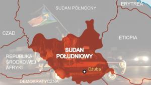Sudan Południowy - nowe państwo na mapie świata - graf. forsal.pl, tło fot. GIORGOS MOUTAFIS  PAP/EPA.
