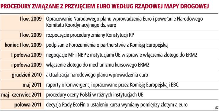 Procedury związane z przyjęciem euro według rządowej mapy drogowej
