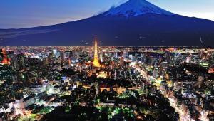 Panorama Tokio, w tle góra Fudżi, fot. skyearth