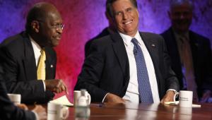 Mitt Romney i Herman Cain podczas debaty prezydenckiej