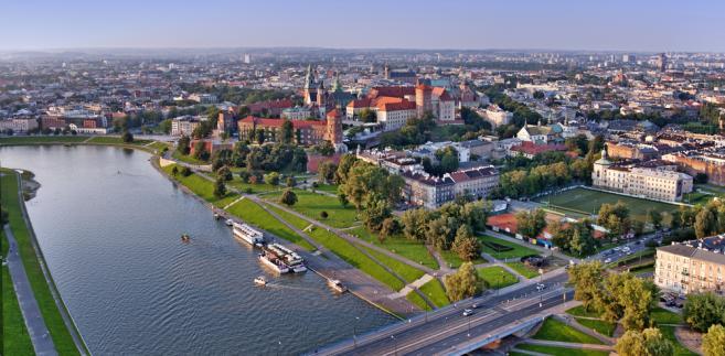 Wisła przepływająca przez Kraków